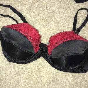 Other - Black satin and red lace bra